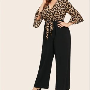 Coco Leopard Print Flounce Sleeve Belted